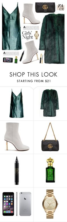 """""""Faux or naked"""" by nadialesa ❤ liked on Polyvore featuring Leka, Dries Van Noten, Vetements, Gucci, MAC Cosmetics, Clive Christian, Michael Kors, Yves Saint Laurent and girlsnight"""