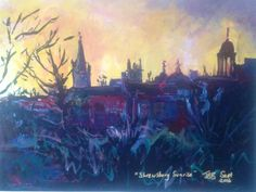 Sunrise over city painting print, townscape art, mounted limited edition print, cityscape art, impressionist style acrylic paint, blue red by JoyStephanie on Etsy