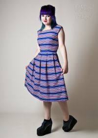 Original 50s Red White & Blue Striped Cotton Sundress from Upstaged Vintage in Leeds