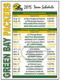 2015 Green Bay Packers Football Schedule Magnet