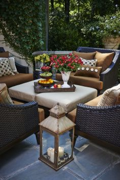 Our beautiful Meridian Lantern, with Somerby Cuddle Chairs and Ottoman.