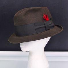 ad06dbedf00 Knox New York Fedora Premier Quality Brown Fur Felt Hat Sz 7 1 4 Vintage  1950s
