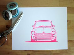 Classic Mini Cooper Bonnet Print.