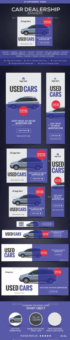 Car Dealership Banners - Banners & Ads Web Template PSD. Download here: http://graphicriver.net/item/car-dealership-banners/10496385?s_rank=1220&ref=yinkira