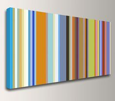 """Stripes - Line Art - Colorful Canvas Print - Retro Modern Art - Panoramic Wall Decor - """"Band of Colors"""""""