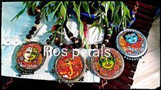Hand painted Kerala mural Terracotta pendant set from Ros petals