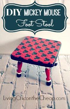 Decoupage Ideas: DIY Mickey Mouse Foot Stool  #ModPodge #DIY #Disney