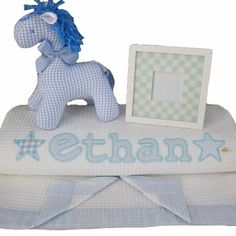 Personalised baby blanket baby hamper with Kate Finn Horse #personalisedbabyblankets #personalisedbabygifts