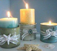 Porta velas de latinhas