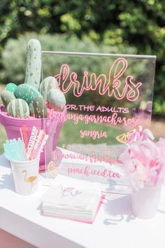 b2c7a9d2769 Drink table sign from a Cactus + Flamingo Themed Summer Party on Kara s  Party Ideas