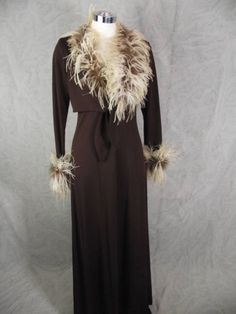 Vintage 70s Brown Disco Holiday Cocktail Dress Marabou Feather Jacket S