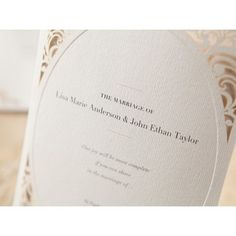 Oval Embossed and Laser Cut Sophisticated Invitation Laser Cut Invitation, Laser Cut Wedding Invitations, Border Design, Cut And Style, Laser Cutting, Vintage Inspired, Heaven, Wedding Inspiration, Place Card Holders