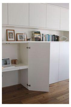 Hidden Desk, Built In Desk, Built Ins, Home Office Design, House Design, Ikea Home Office, Trendy Home, Storage Spaces, Ikea Living Room Storage