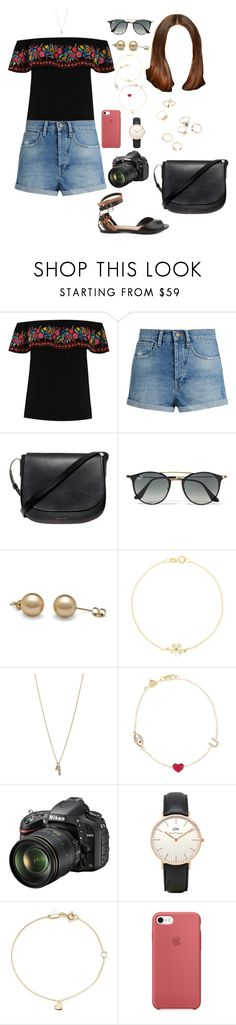 """""""BUD (aftern/out)"""" by ittgirl ❤ liked on Polyvore featuring Oasis, Raey, Mansur Gavriel, Ray-Ban, Jennifer Meyer Jewelry, Minor Obsessions, Alison Lou, Nikon, Topshop and Estella Bartlett"""
