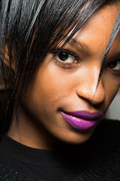 Trade in red lips for a violet shade // Nanette Lepore Fall 2015.