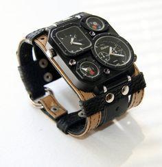 "Mens Watch Steampunk Wrist Watch Leather- Gifts for Men bracelet ""Safari""-SALE-Worldwide Shipping - Steampunk Watches on Etsy, $155.00"