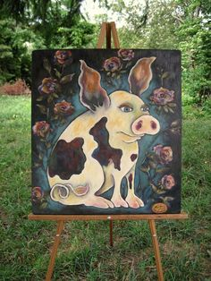 "Large FoLk ArT  PiG  ""This Little Piggy Went to Market""  Oil on Antique Wood By Dee Sprague by mermaidmessenger on Etsy https://www.etsy.com/listing/106396774/large-folk-art-pig-this-little-piggy"