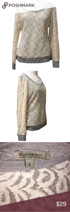 BORDEAUX Anthro Sz S Gray Ivory Lace Sweatshirt 🔸BORDEAUX Los Angeles Anthropologie Sz S Gray Ivory Lace Overlay Sweatshirt NWOT🔸Size Small🔸Gray and Ivory color🔸Lace all over🔸Bust 32-34🔸Semi stretch🔸Scoop Neck🔸NWOT Anthropologie Sweaters Crew & Scoop Necks