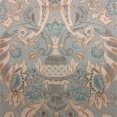 This blue, tan, grey and ivory large floral linen drapery fabric, suitable for any decor. Perfect for pillows,drapes and bedding.v145HEF