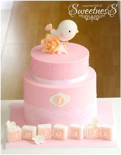 Monogrammed Pink Fondant Covered Baby Cake With Little Bird and Blocks With Baby's Name. Pretty Cakes, Cute Cakes, Beautiful Cakes, Tortas Baby Shower Niña, Baby Shower Cakes, 1st Birthday Cakes, Baby Birthday, Fondant Cakes, Cupcake Cakes