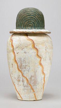 Canopic jar of Teti Period: New Kingdom Dynasty: Dynasty 18 Date: ca. 1479–1390 BC Geography: From Egypt Medium: Pottery, paint