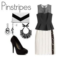 """""""Pinstripes"""" by lizf99 ❤ liked on Polyvore featuring Thierry Mugler, McQ by Alexander McQueen, Michael Antonio, Boohoo, Amour and Forest of Chintz"""