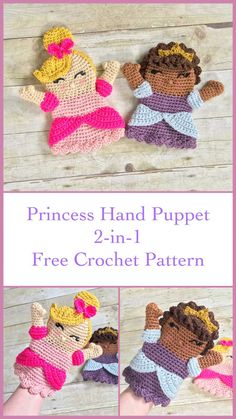 Princess Hand Puppet, Free Crochet Pattern  Make this adorable princess to go with her unicorn friend! Curly hair, straight hair, crown, and bow, are all included as different options for creating your princess!