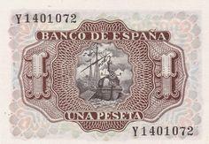 Spain 1 Peseta banknote 1953 Marquis de Santa Cruz World Banknotes ...