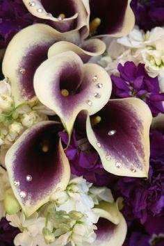 Purple Calla lillies with rhinestones