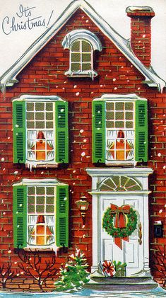 Brick House Facade with Wreath - Vintage Christmas decorations crafts Retro Christmas Decorations, Retro Christmas Tree, Vintage Christmas Images, Christmas Scenes, Christmas Past, Vintage Holiday, Christmas Pictures, Christmas Colors, Christmas Greetings