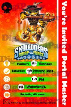 New skylanders birthday invitation $9.99 at https://www.etsy.com/listing/173541639/skylanders-swap-force-birthday-party