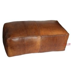 Moroccan Pouf Ottoman Double Seater Stuffed in the UK. Genuine Leather Natural Tan. Handmade Hand-stitched. Professionally Upholstered