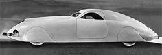 The sleek envelope design of the 1938 Phantom Corsair was Heinz's, developed with clay models.