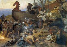 Генрих Ипполитович Семирадский (1843–1902), «Похороны знатного руса в Булгаре», 1883. Сюжет картины основан на тексте Ахмада Ибн-Фадлана
