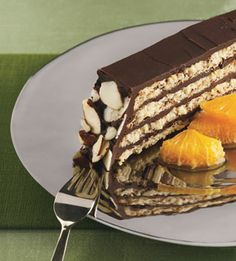 Almond-Macaroon Torte with Chocolate Frosting and Orange Compote - Bon Appétit