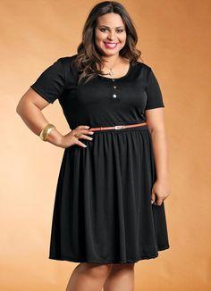 Vestido de manga corta más el tamaño Negro - Posthaus