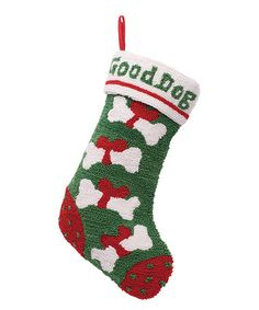 Love this Green & Red 'Good Dog' Hooked Stoking on #zulily! #zulilyfinds