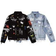 """15FW """"C2H4 x HIYASET"""" GRAFFITI DENIM JACKET (3.900 ARS) ❤ liked on Polyvore featuring outerwear, jackets, denim jacket, black jean jacket, jean jacket, black jacket and distressed jacket"""