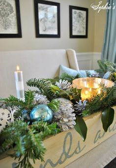 Love this idea for Christmas centerpiece
