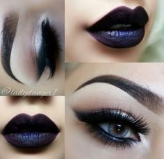 Stunning eyes and dark lips.