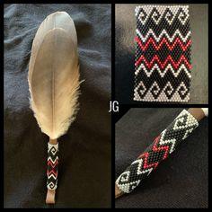 Native Beading Patterns, Peyote Beading Patterns, Beadwork Designs, Native Beadwork, Native American Beadwork, Bead Loom Patterns, Loom Beading, Feather Crafts, Seed Bead Jewelry