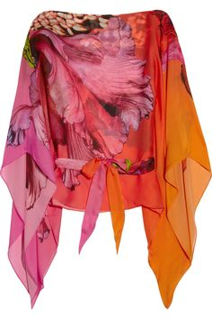 Ombre orange-red-pink caftan top with oversize pink hibiscus flower print and draped flutter sleeves. Roberto Cavalli.