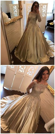 Unique Off Shoulder Long Sleeves Lace Prom Dresses With Trailing, Sparkly Beading Ball Gown Prom Dresses, Lace Prom Gown, Ball Gowns Prom, Ball Dresses, Lace Dress, Dress Prom, Prom Ballgown, Chiffon Dresses, Lace Corset, Gold Dress