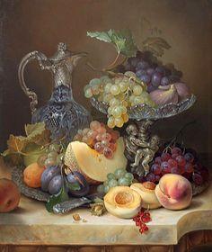 Dmitry Vlasov   Utensilios de cocina del vintage, flores y frutos ...