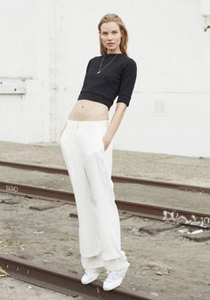 black crop top & white pants #style #fashion
