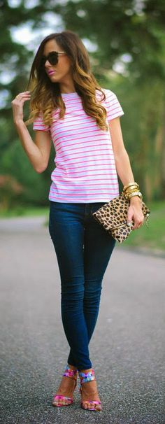 Just mixing denim up with neon stripes, bright florals & leopard.