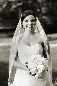 This lace trimmed veil is soft and romantic.