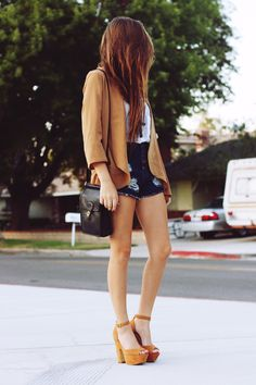 high waist shorts with nude pumps and blazer