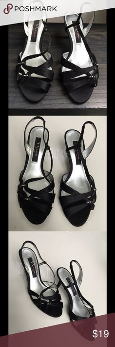 Nina Black Satin Beaded Open Toe Heel Dressy pair of strappy satin heels with beading detail. Lower heel is easy on the feet, legs, and back. Womens size 6=Girls size 4. Nina Shoes Heels