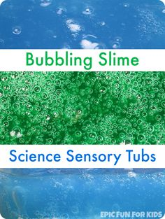 Make a bubbling slime science sensory tub that bubbles for hours and hours! Such a fun way to observe the baking soda and vinegar reaction.